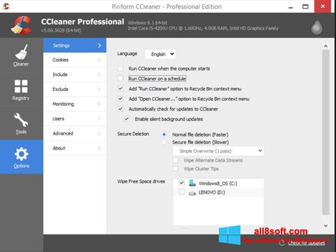 Screenshot CCleaner para Windows 8