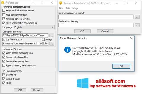Screenshot Universal Extractor para Windows 8