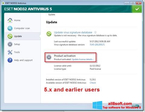 Screenshot ESET NOD32 para Windows 8