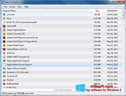 Screenshot Geek Uninstaller para Windows 8