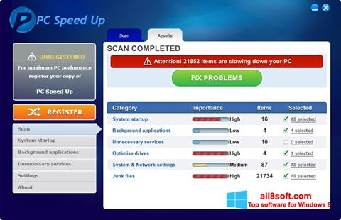 Screenshot PC Speed Up para Windows 8