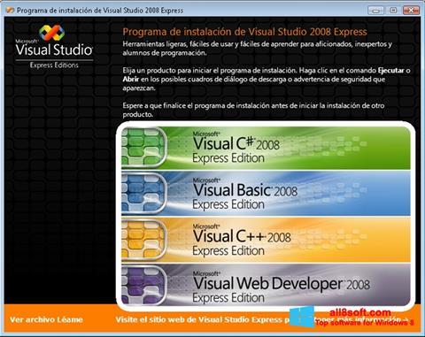 Screenshot Microsoft Visual Studio para Windows 8